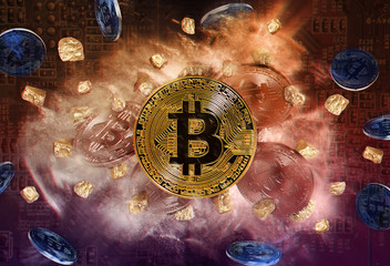 Bitcoin coin and mound of gold nuggets