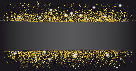Black Paper Banner Golden Sand
