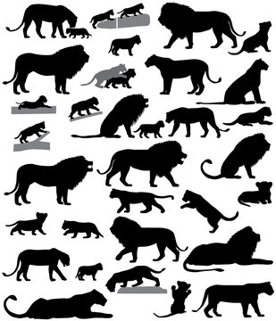 Collection of silhouettes of lions and lion cubs