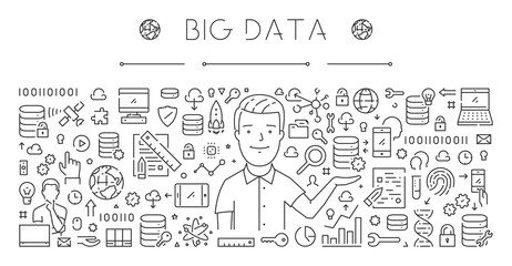 Horizontal line banner for big data