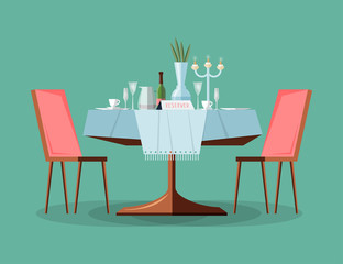 Reserved modern restaurant table with tablecloth, candles in candlestick, plant, wineglasses, reservation tabletop sign standing on it and two chairs. Bright colored cartoon vector illustration