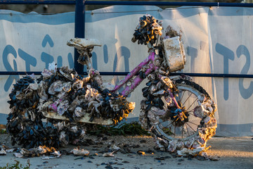 old bicycles recovered from the sea covered with oysters and mussels in Audenge, Bassin d'Arcachon, France