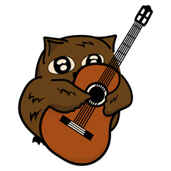 Owl plays guitar vector image.  Funny owlet musician. Bird embraces guitar. Little amusing animal isolated on a white. Cute owl with expressive eyes. Emblem for courses/ lessons of playing guitar.