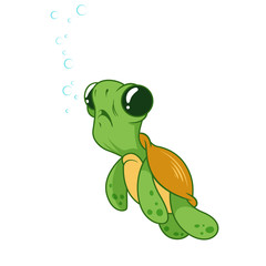 Cute funny turtle with bubbles.
