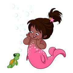 Cute little mermaid with funny turtle.