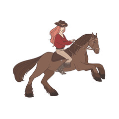 Long-haired woman wearing cowboy hat and boots riding wild mustang horse. Cowgirl, horseback rider, equestrienne. Hand drawn cartoon character isolated on white background. Vector illustration.