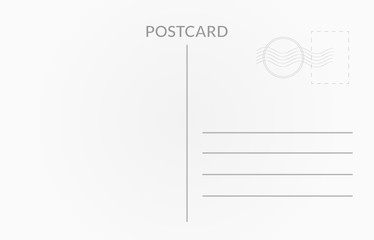 Travel card design. Vector white postcard illustration