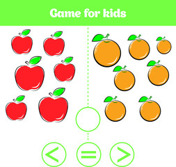 Education logic game for preschool kids. Choose the correct answer. More, less or equal Vector illustration. Fruits vegetables, pictures for kids
