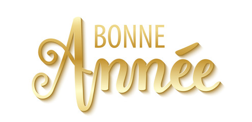 "Carte ""BONNE ANNEE"" en or"
