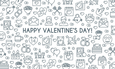 Valentines day banner. Thin line icons. Vector illustration