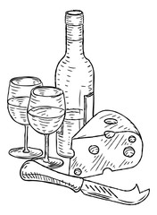 Wine and Cheese Vintage Retro Woodcut Style