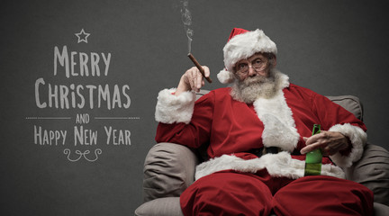 Bad Santa celebrating at home