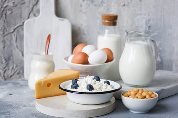 Poster de jardin Produit laitier Dairy products on marble table over concrete background. Cheese, farmers cheese, milk, yogurt, sour cream, eggs and smoked cheese. Organic farmers dairy products