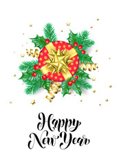 Happy New Year calligraphy hand drawn text for greeting card background template. Vector Christmas tree holly wreath decoration, red gift and golden confetti ribbon on premium white design