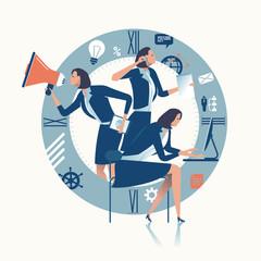 Multitasking. Multi-tasking office worker. Business concept illustration.