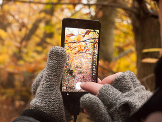 man taking a picture with camera smart phone touch screen nature outside autumn fall