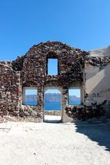 Wall of Byzantine Castle Ruins in Oia village, Santorini, Greece,bright Sunny day