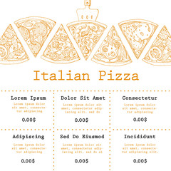 Pizza food menu for restaurant and cafe. Design template with hand drawn graphic elements in vintage style.