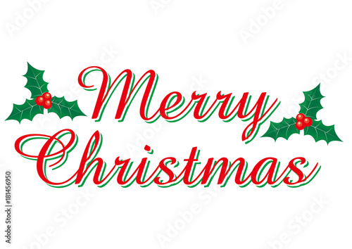 Merry Christmas In Cursive.Merry Christmas Logo With A Cursive Holly Merry Christmas