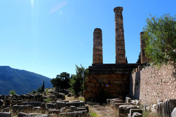 The ruins of Temple of Apollo in the archaeological site of Delphi in Greece. Delphi was believed to be the centre of the earth