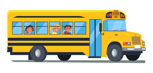 School Bus with Kids Sitting Near Windows Vector