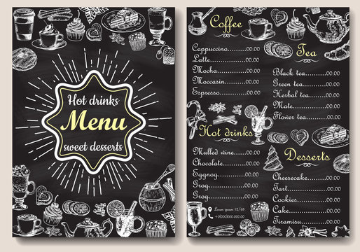 Restaurant hot drinks menu design with chalkboard background. Vector illustration template in vintage style. Hand drawn style. Hot tea, coffee, cacao