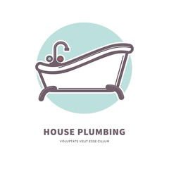 House plumbing commercial logotype with capacious ceramic bath