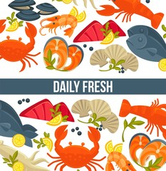 Daily fresh seafood commercial banner with exotic food