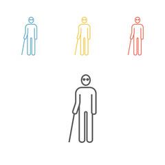 Blind man line icon