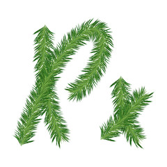 Pine or Fir Tree Letter x