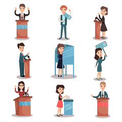 Elections and voting set, political candidates and voting process vector Illustrations