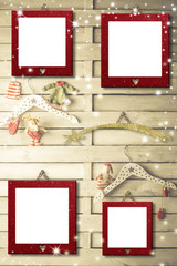 Christmas 4 photo frames cards
