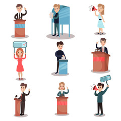 Elections and voting set, political candidates and people taking part in voting vector Illustrations