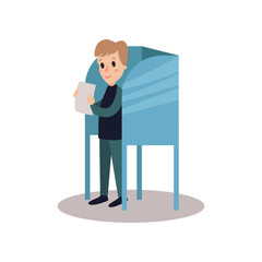 Man standing in voting booth and holding ballot, people taking part in voting vector Illustration