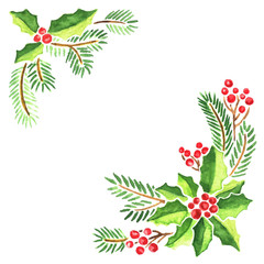 Watercolor Christmas frame for greeting cards and invitations. Composition of mistletoe, fir tree branches and holly with red berries