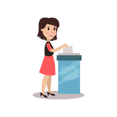 Woman character putting a ballot into a voting box, voting process vector Illustration