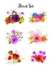 Collection of watercolor flower set, artistic bouquet.