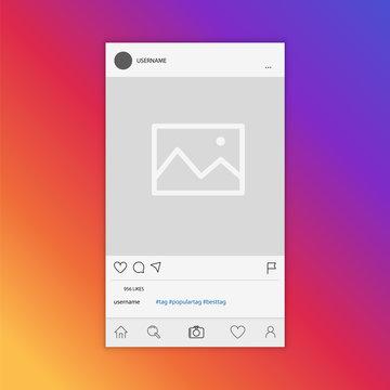Mockup of social network photo frame inspired by social media. Modern design. Vector illustration.