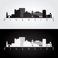Riverside usa skyline and landmarks silhouette, black and white design, vector illustration.