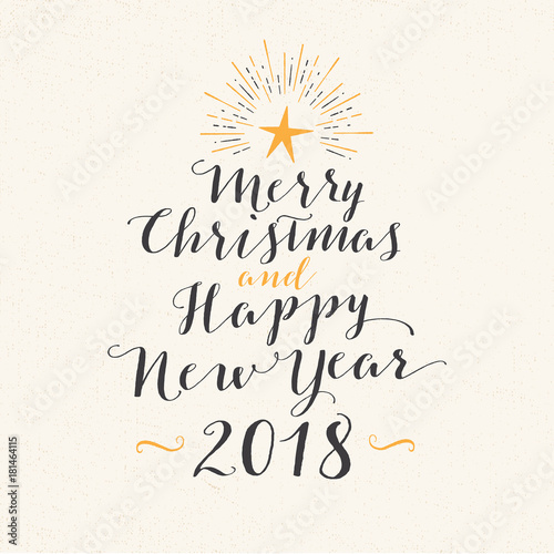 Handmade style greeting card merry christmas and happy new year handmade style greeting card merry christmas and happy new year 2018 vector eps10 m4hsunfo