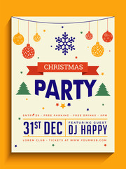 Party Banner or Flyer Design for Christmas Celebrations.