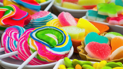 Closeup coloful sugary candy, Unhealthy food, Multicolor candies for child