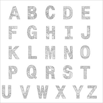 Stylized alphabets, coloring book for kids.