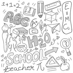Back to School doodle, with black and white education sign, symbols and icons.