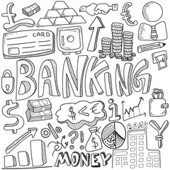 Hand drawn of banking and media strategy doodles elements.