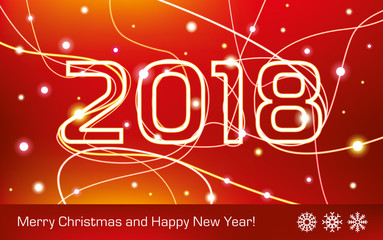 Merry Christmas and Happy New Year! 2018. Glowing neon lines on a red background, holiday card for your business project, vector design art