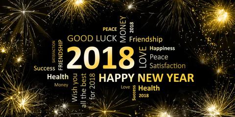Happy new Year 2018 Glückwunschkarte für Silvester