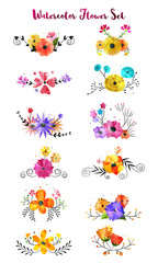 Collection of watercolor flower branches, floral wreaths, artistic bouquet.
