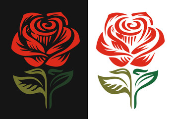 Red rose logo emblem on black and white background.
