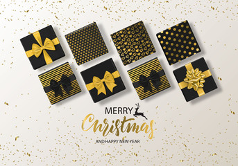 Merry Christmas and Happy New Year background with gift box and confetti. Modern design.Universal vector background for poster, banners, flyers, card